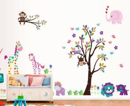 rainbow-fox-adhesivo-de-pared-xl-diseno-de-dibujos-animados-arbol-animales-para-habitacion-de-los-ni