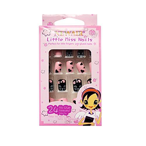 Minkissy unghie finte multi-pattern per bambini stampa colorata sulle unghie kit completo per unghie finte corte ottimo regalo di natale per bambine (modello 2)