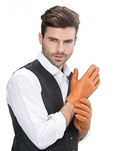 YISEVEN Herren Leder Handschuhe Winter Handschuhe echtes Hirschleder gefüttert Warm Cashmere für Winter (Hirschleder-spitze Weiche)