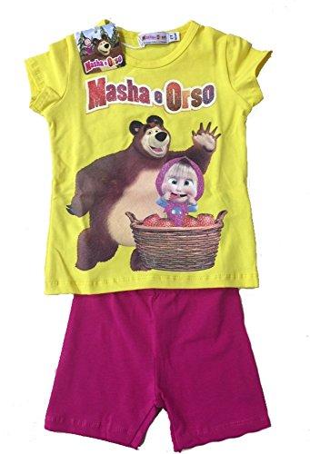 Completino estivo corto bimba masha e orso *21054-5 anni-giallo