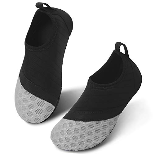 JIASUQI Kinder Leichte Wasser Haut Wanderschuhe Aqua Socken für Pool Schwimmen Surf Wasser Aerobic Schwarz Grau, 32/33 EU