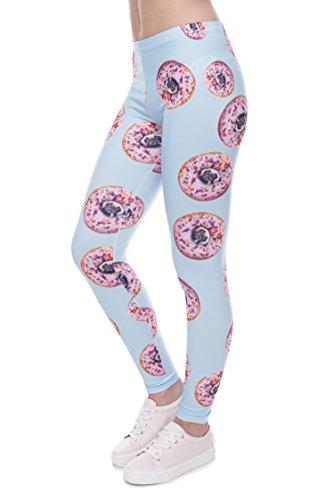 Damen Sport Leggings Hipster Jogahose Muster Sporthose Mädchen Lang Treninganzug Blogger Fullprint Onesize DONUTS WITH PUGS BLUE