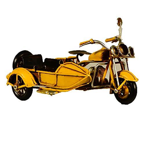 Metall Collectible gelb Seite Motorrad Miniatur-Retro Industrie Deko Figur-Metall Replica Deko Figur Fahrrad Modell-Collectible Motorrad-Tischplatte Motorrad-Retro Seite Bike Ornament