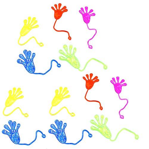 Limeo Klatschhand Klebehand Kinder Klatsch Klatschhände klebrige Hände Mitgebsel Mitbringsel Kindergeburtstag für Kinder Klatschhand für Kinder Kindergeburtstag(12 insgesamt) Zufällige Farbe (Hand Spielzeug Klebrige)