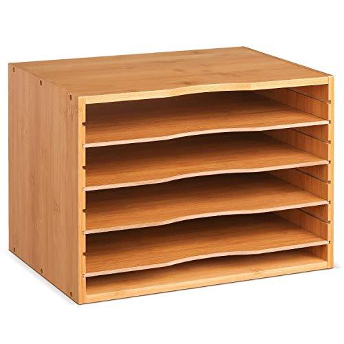 Homfa Archivador de Bambú Almacenamiento de Escritorio Organizador para documentos con 4 estantes 33x24.6x26cm