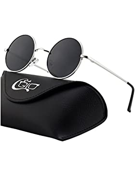CGID E01 Pequeño Estilo Vintage Retro Lennon inspirado círculo metálico redondo gafas de sol polarizadas para...