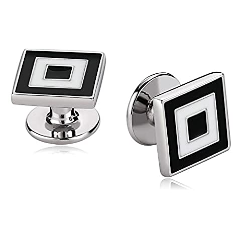 Epinki Stainless Steel Classic Cufflinks for Mens Jewelry 2 Color Enamel Square Black White