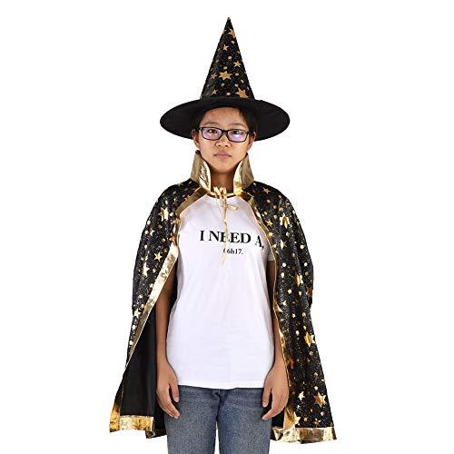 Hobbit Kostüm Muster - FTVOGUE Halloween Hexe Wizard Cloak Cape Hut Set für Kinder Glitter Stars Muster für Weihnachten Cosplay Kostüme (01)