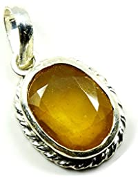 55carat amarillo zafiro 3quilates original naturales ovalada suelto Gemstone colgante de plata de ley 92,5