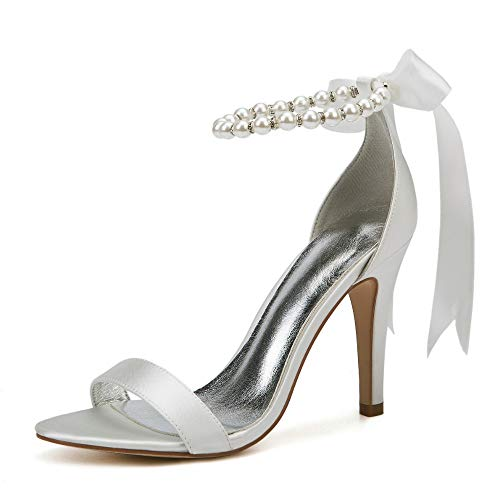 AIMISHOES Pearl Decoration Bride Wedding Shoes Fashion Shoes for Woman Ankle Strap Party Dress Shoes Open Toe High Heels Pumps Female Sandals,Ivory,37 Kitten Heel Ankle Strap Sandal