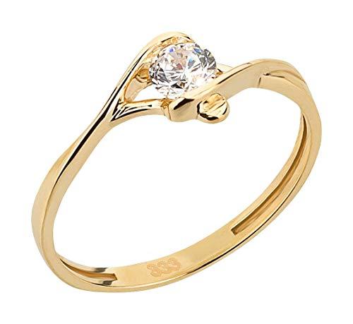 Ardeo Aurum Damenring aus 333 Gold Gelbgold mit Zirkonia im Brillant-Schliff Spannfassung Verlobungsring Solitär-Ring