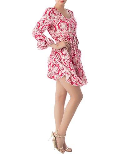 iB-iP Femme Coton Mélangé De Style Rococo Tirages Occasionnels Mini Robe Empire Rouge
