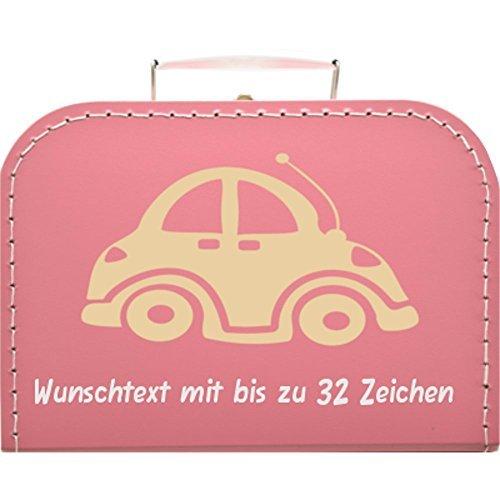 Kinderkoffer pink mit Motiv Auto, Farbe des Motivs wählbar, Wunschname/Wunschtext inkl, Pappkoffer, 25cm