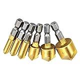 ebshow Kegelsenker Bohrer Bits Center Punch Tool Set, 6Stück Hex Shank inklusive 5Anfasen-Bohrer Bit High Carbon Stahl Titan vergoldet für Holz DIY, 6/8/9/12/16/19mm