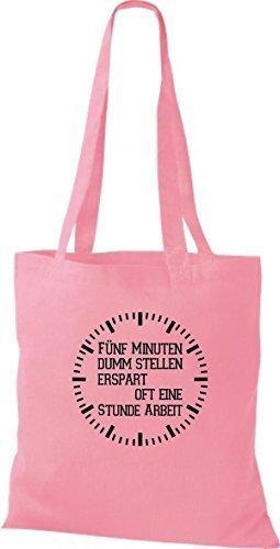 Shirtstown Stoffbeutel lustige Sprüche fünf Minuten dumm stellen ersprart oft eine Stunde Arbeit viele Farben rosa