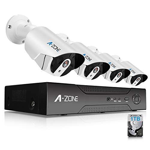 A-Zone 1080P Kit Videosorveglianza POE 4 Canali NVR 4x IP Videocamera Esterno rete di grado IP67 Visione notturna Rilevamento movimento Avviso e-mail 1TB disco rigido