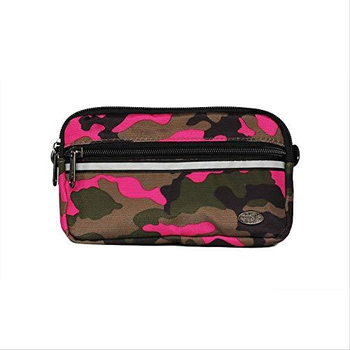 fhdc Marsupi Tasche A Tracolla Multi-Funzione Da Uomo A Tracolla Borsa Moda Impermeabile 17X10X3,5 Cm Mimetica Rosa Rossa