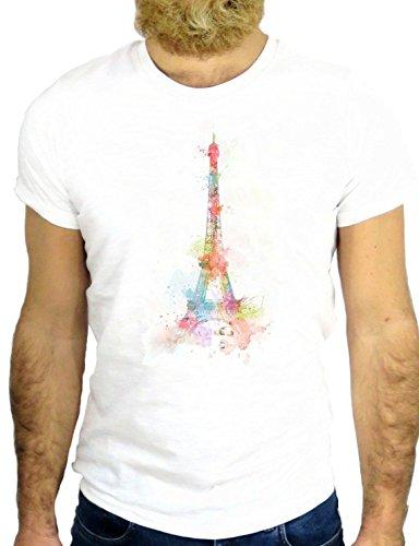 T SHIRT Z0905 COOL VINGATE PARIS FRANCE DREAM IMPRESSIONIST PICTURE EUROPE GGG24 BIANCA - WHITE