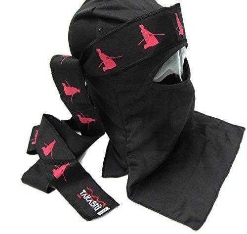 Ninja Shinobi Ninja Ultimate Warrior: Nero, set Maschera (AKA) giapponese a forma di spada, colore: nero Tenugui v2, con fascia, sciarpa, taglia 1, Halloween Fancy Dress Costume