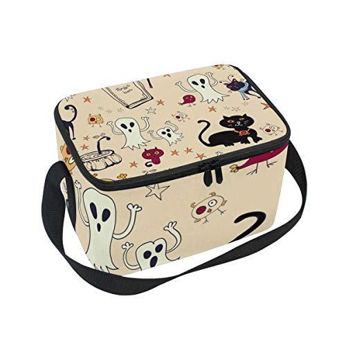 ALINLO Halloween-Kürbis-Ghost Lunch-Tasche, mit Reißverschluss, isolierte Kühltasche, Lunchbox, Meal Prep, Handtasche für Picknick, Schule, Damen, Herren, Kinder