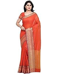 Vaamsi Women's Cotton Silk Saree With Blouse Piece(Silkjaq1080_Orange_Free Size)