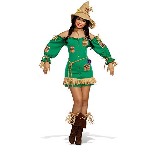 Dreamgirl Damen Kostüm Vogelscheuche Henriette Kleid grün Fasching Karneval S, M, L, XL (S) (Paar Von Kostüme Zauberer Oz Der)