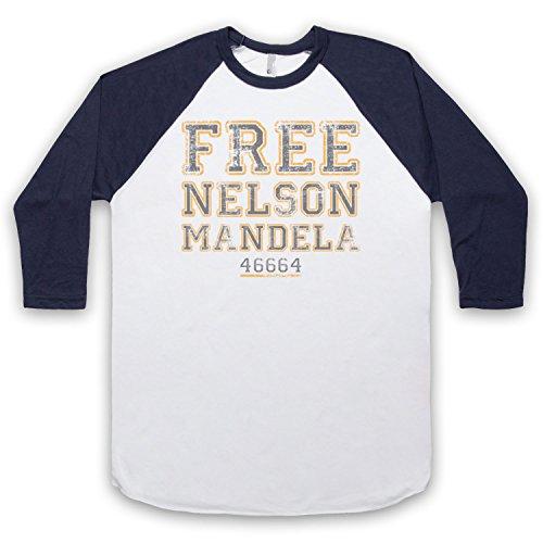 Nelson Mandela Free Nelson Mandela 3/4 Hulse Retro Baseball T-Shirt Weis & Ultramarinblau