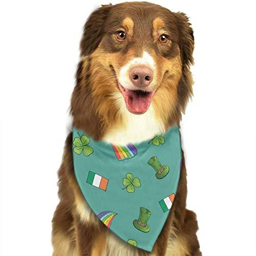 Hipiyoled St. Patrick's Day Irish Shamrock Muster Mode Hund Bandana Kragen waschbar Reversiable einstellbare Dreieck Lätzchen -