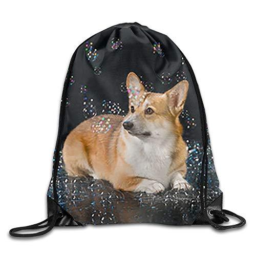 (gthytjhv Borsa da trasporto Bubble Corgi Men Women Drawstring Backpack Travel Bag Lightweight Unique 16.9x14.2)