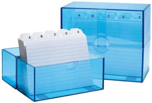 Wedo 2506303 Box Schedario Riempito, A6/200, Trasparente/Blu