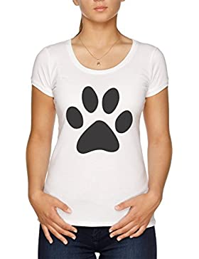 Vendax Gato Huella Camiseta Mujer Blanco