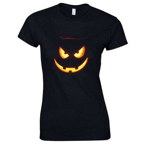 Damen Halloween Kürbisgesicht 5 T-Shirt Größe XL Schwarz -