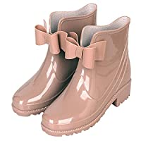 D ANA Women Summer Rain Boots PVC Butterfly Bow Tie Ankle Rain Boot Female