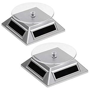 2 Solar Drehteller Drehscheibe für Vitrine | Leistungsstark | Präsentation Teller – Drehbühne für Uhren, Schmuck, Handy