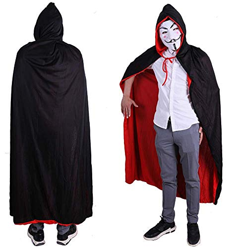 fagginakss Unisex Adult Rot Schwarz Two Tone Reversible Hooded Vampires Weihnachten Halloween Hexe Party Cape Mantel 140cm - Reversible Hooded Mantel