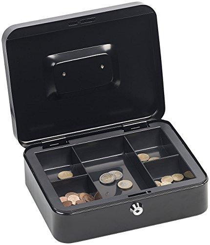 Xcase Geldkassette mit Griff: Stahl-Geldkassette, Münzeinsatz mit 5 Fächern, Schloss, 2 Schlüssel (Geldkassette mit Münzgeldmulden)