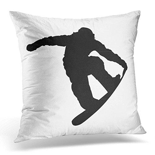 Emvency Kissenbezug für Snowboarder, Snowboarden, Skifahren, dekorative Kissenhülle, für Sport, Heimdekoration, quadratisch, Baumwolle, weiß, 18 x 18 inch -