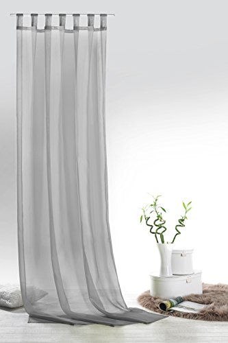 fashion and joy Fashion&Joy - Schlaufenschal Voile Grau HxB 245x140 cm - Transparent Einfarbig - Dekoschal Gardine Typ418