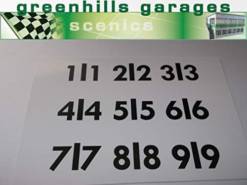 Greenhills Scalextric Pit Number Board Adhesive Numbers