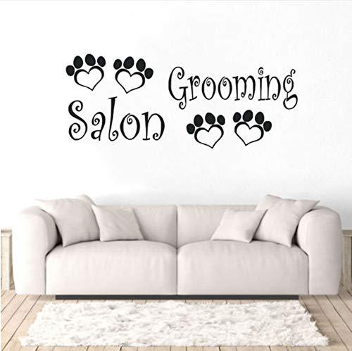 Knncch Pet Shop Dekoration Hunde Grooming Salon Wandaufkleber Tiere Pfoten Wandtattoo Hunde Beauty Salon Logo Wandbild Vinyl Kunst