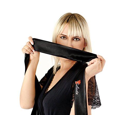 Selente 3-teiliges Satin-Set aus edlem Morgenmantel, String und Satin-Augenbinde made in EU in Geschenkbox Schwarz