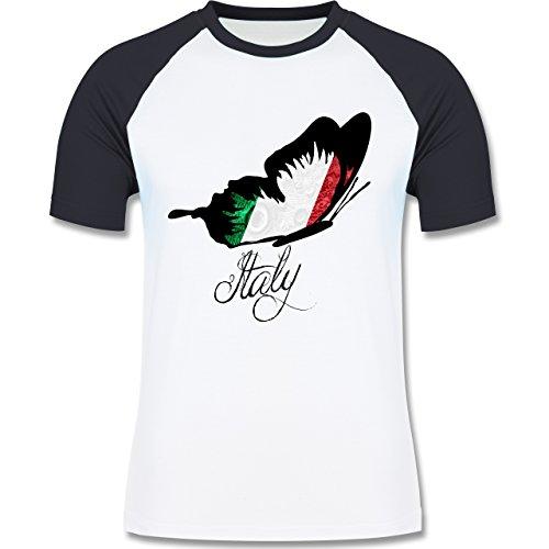 EM 2016 - Frankreich - Italy Schmetterling - zweifarbiges Baseballshirt für Männer Weiß/Navy Blau
