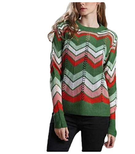 Energy Womens Striped Rainbow Knit Scoop Neck Pullover Jumper Sweaters Green XS -