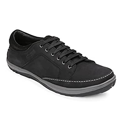 Red Chief Men's Black Leather Sneakers-10 UK/India (44 EU) (RC3554 001)