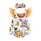 Pingtr Mädchen Party Kleid,Kleinkind-Baby scherzt Mädchen-Halloween-Kürbis-Blatt-Druck-Spielanzug-Bodysuit Hairband