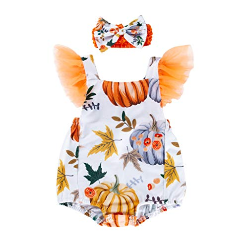 Skeleton Bride Kostüm Corpse - RYTEJFES Baby Girls Halloween Clothes Infant Toddler Baby Girls Halloween Pumpkin Bow Party Dress Clothes Dresses 2-teiliges