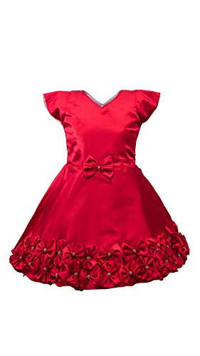 My Lil Princess Baby Girls Birthday Party wear Frock Dress_ Red Satin Flowers_1.5 - 2 Years
