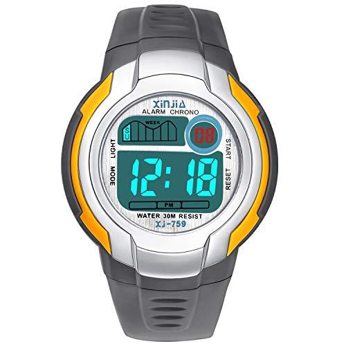Jungen Digitaluhren Kinder Uhr Mädchen Jungenuhr Wasserdicht Sportuhren Digital Armbanduhr Uhr mit Wecker/Stoppuhr, Datum & Woche und Kalender (Grau)