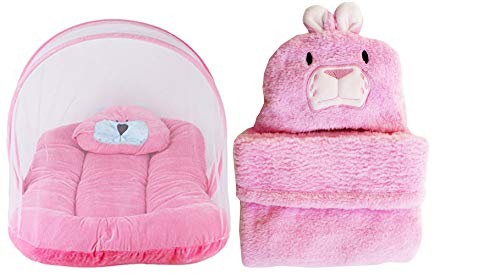 My NewBorn Baby Velvet Mosquito Net Bed and AC Blanket Wrapper, 0-3 Months (Pink) - Combo of 2 Pcs