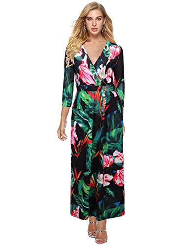 Ariymap Damen 3/4-Ärmel V-Ausschnitt Wrap Maxi-Kleid Blume Hohe Taille Freizeitkleider - Sportliche Wrap